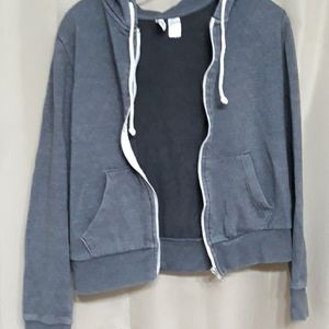 Divided zip-up hoodie Gray with front pocket